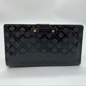 Kate spade black leather snap wallet good used con